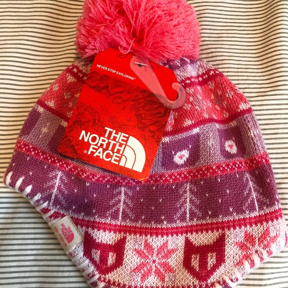 North Face Baby Faroe Beanie Hat Girls Pink XXS 04122515c82